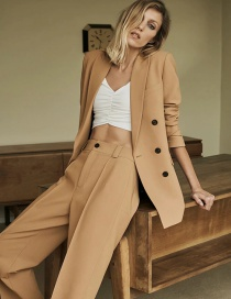 Fashion Camel Double-breasted Loose Solid Color Blazer