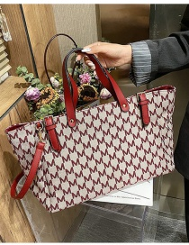 Fashion Red Geometric Print Large Capacity Shoulder Bag