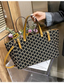 Fashion Yellow Geometric Print Large Capacity Shoulder Bag