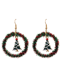 Fashion Five-pointed Star Christmas Tree Hollow Round Christmas Earrings With Alloy Ribbon
