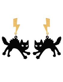 Fashion Black Cat Pumpkin Acrylic Ghost Bat Geometric Earrings