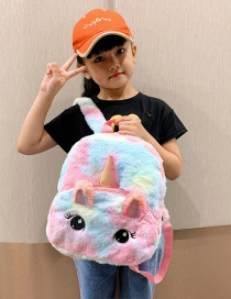 Fashion Blue Unicorn Plush Contrast Backpack