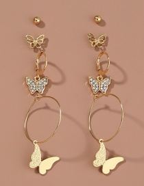 Fashion Gold Color Diamond Butterfly Round Alloy Earring Set