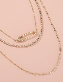 Fashion Gold Color Long Diamond Brooch Multilayer Necklace