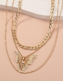 Fashion Gold Color Hollow Three-dimensional Butterfly Pendant Multilayer Necklace