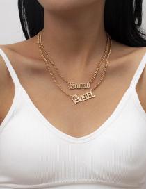 Fashion Gold Color Alloy Letter Double Necklace