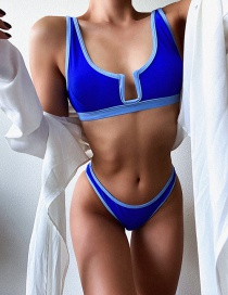 Fashion Blue Contrasting Color Low-rise Split Swimsuit