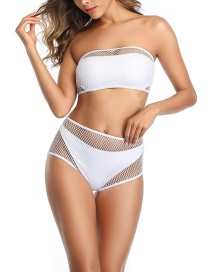 Fashion White Tube Top Fishnet Eye High Waist Split Swimsuit