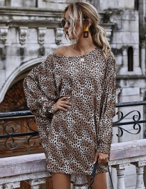 Fashion Black Off-shoulder Leopard-print Diagonal Long-sleeved Knitted Dress