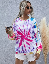 Fashion Color Printed Round Neck Knitted Long-sleeved Tie-dye Sweatshirt