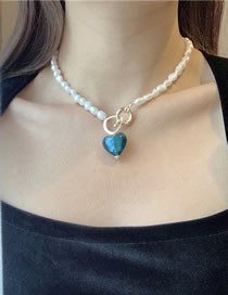 Fashion Blue Love Freshwater Pearl Love Lock Necklace