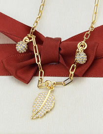 Fashion Gilded Leaf Tag Necklace With Diamonds