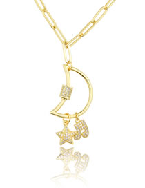 Fashion Gilded Diamond-studded Star Musical Note Moon Turnbuckle Necklace