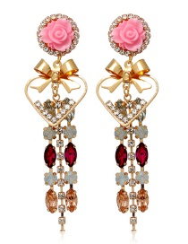 Fashion Pink Diamond Bow Flower Alloy Earrings