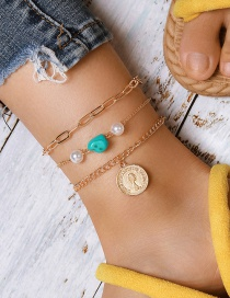 Fashion Gold Color Thick Chain Turquoise Pearl Coin Head Anklet Set
