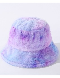 Fashion Blue Purple Tie-dyed Plush Contrast Color Fisherman Hat