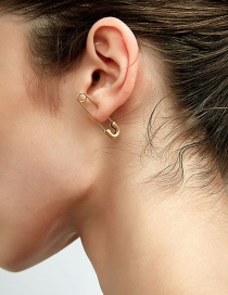 Fashion Gold Color Real Gold-plated Pin Earrings Can Be Used As Brooches