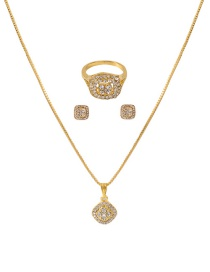 Fashion Gold Color Alloy Diamond Geometric Ring Earrings Necklace Set