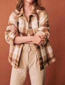 Fashion Khaki Brushed Check Woolen Thick Coat