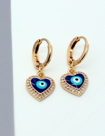 Fashion Gold Color Micro Inlaid Zircon Eyes Love Earrings