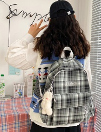 Fashion Black Send Bear Pendant Canvas Letter Label Checked Backpack
