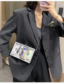 Fashion Blue Banknote Dollar Contrast Color Chain Crossbody Bag