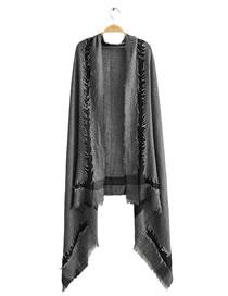 Fashion Black Cotton And Linen Frayed Scarf Shawl
