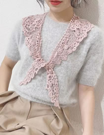Fashion Pink Solid Color Lace Cutout Shawl Scarf