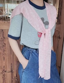 Fashion Pink Knitted And Knotted Solid Shawl Sunscreen
