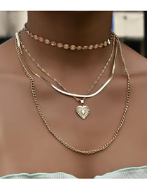 Fashion Color Mixing Disc Chain Peach Heart Multilayer Necklace