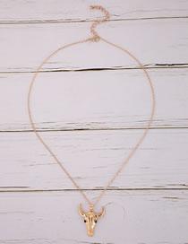 Fashion Gold Color Bull Head Pendant Alloy Necklace