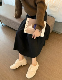 Fashion Off-white Lambs Wool Shallow Mouth Flat Round Toe Fur Shoes