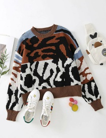 Fashion Blue Contrast Animal Print Knitted Pullover Sweater