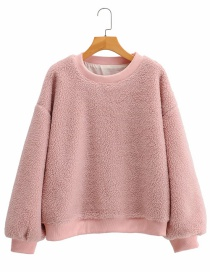Fashion Pink Lamb Wool Round Neck Solid Color Loose Coat