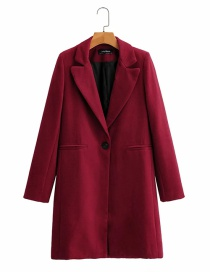 Fashion Red Wine One Button Solid Color Long Blazer