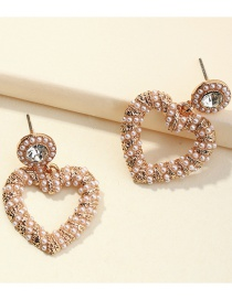 Fashion Gold Color Twisted Rope Pearl Love Alloy Hollow Earrings