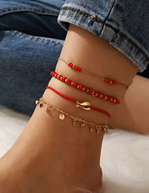 Fashion Red Beaded Round Fish Alloy Multilayer Anklet