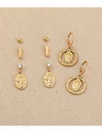 Fashion Gold Color Roman Portrait Pendant Earring Set