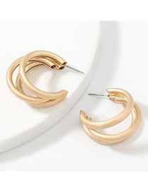 Fashion Gold Color Alloy Multilayer C-shaped Geometric Earrings