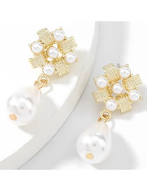 Fashion Gold Color Alloy Inlaid Pearl Flower Earrings
