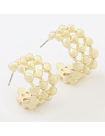 Fashion Gold Color Alloy Mesh C-shaped Earrings
