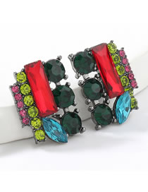 Fashion Color Square Alloy Diamond And Acrylic Earrings