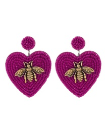 Fashion Red Alloy Rice Beads Love Bee Stud Earrings