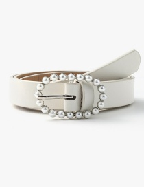 Fashion White Pearl Geometric Oval Alloy Belt