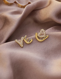 Fashion Gold Color Letter Micro Inlaid Zircon Hollow Heart Earrings