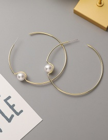 Fashion Gold Color Pearl Large Circle Alloy Earrings
