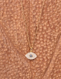 Fashion Eye Flower Gold-plated Copper Necklace With Diamond Eyes