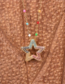 Fashion Color Mixing Five-pointed Star Encrusted Diamond Hollow Necklace