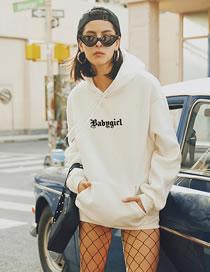 Fashion White Letter Print Loose Hooded Sweatshirt