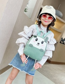 Fashion 19 Inch One Green Canvas Bunny Elephant Stitching Contrast Backpack